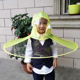 Wholesale Raincoat Cap - VILEAD UFO Shape Raincoat Students Portable Umbrella Cap Creative Transparent Children Folding Raincoat Poncho for Outdoor Tour