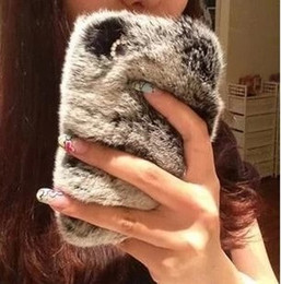 Wholesale Real Leather S4 Case Brown - Luxury crystal real top rex rabbit hair fur plush Soft leather case for samsung galaxy s4 s5 s6 Note 3 N7100 N9000 note4
