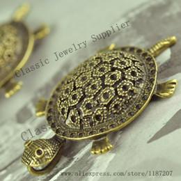 Wholesale Bronze Turtle Vintage - Wholesale DIY Jewelry Accessories Antiqued Bronze Vintage Alloy Big 3D Turtle Necklace Pendant Charms Hot Sale 54*33mm 10PCS