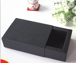 Wholesale Gift Box Packaging Logo - Custom gold sliver logo large MOQ 100pcs black paper cardboard drawer gift box black paper drawer paper package box printed logo