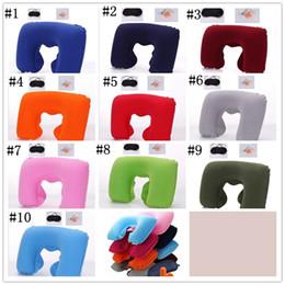 Wholesale Cushion Factory - Factory price 3in1 Travel Office Set Inflatable U Shaped Neck Pillow Air Cushion + Sleeping Eye Mask Eyeshade + Earplugs 1500pcs YYA837