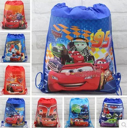 Wholesale Cars Drawstring Backpack - 30pcs Children's Cartoon bag Car Non-woven Drawstring backpack party School bag Shopping Bags Gift for Kids 10 Design KB8