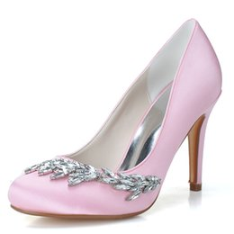 Wholesale Satin Crystal Shoes - 5623-02 Exquisite Crystal White Shoes For Bride Size 9.3CM Custom Made Bridesmaid Shoes Evening Party Women Shoes Round Toe Cheap Shoes