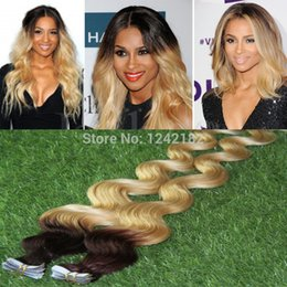 Wholesale Tape Hair Extensions Blonde Mix - Ombre Tape In Skin Weft Human Hair Extensions Christmas 2016 Tape Weft Brown Mix Blonde Brazilian Body Wave Virgin Hair T4 613