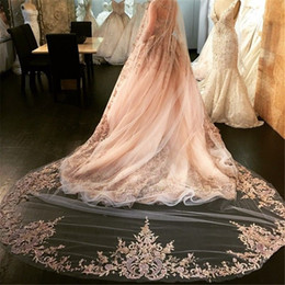 Wholesale Soft Lace Long Veils - Best Selling Luxury Wedding Veils Four Meters Long Veils Rhinestone Lace Applique One Layer Soft Tulle Cathedral Length Cheap Bridal Veil