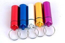 Wholesale Key Chain Cases - 2017 New Waterproof Aluminum Pill Box Case Bottle Holder Container Keychain Key Chain Key Ring New Pill Splitters Cases Mixed Color