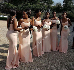 Wholesale Ling Dresses - Ling Pink Mermaid Bridesmaid Dresses 2017 Simple Spaghetti Strap Floor Length Long Bridesmaid Gowns Black Girls Party Gowns Cheap