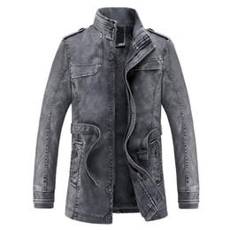 Wholesale Mens Small Leather Jackets - Jacket men Slim Warm mens washed Leather Motorcycle Biker Jackets Standing Collar Coat jaqueta masculina Plus size XXXL