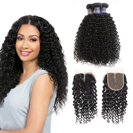 Wholesale Ombre Kinky Curly Human Hair - 8A Brazilian virgin human hair bundles with lace frontal closure kinky curly wave hair weve hair extension Natural Color Free Shipping