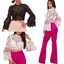 Wholesale Black Top Crochet Collar - 2017 New Autumn Fashion Women's Sexy Lace Crochet High Collar Long Lantern Sleeve Floral Hollow Out Party Honeymoon Clubbing Crop Tops