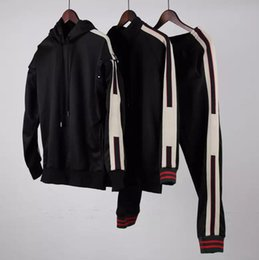 Wholesale Detachable Pants - 2017 Europe Italy Stars Fashion Men Sport g Sweatshirt sleeves detachable Casual Women Zipper Jacket g*g Hoodies band satin Pants tracksuit