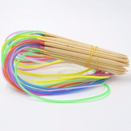 """Wholesale Knitting Needle Double Point - New Multi-color 2.0mm-10mm 18Pcs set 32"""" 80cm Eco-Friendly Double Point Bamboo Annular Knitting Needles Crafts Yarn tool Sets"""