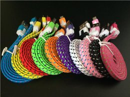 Wholesale Noodle Iphone Lighting - 1 2 3m Colorful noodles usb cable Pure copper Flat wire braiding micro usb cable V8 Smart phone cables for ip cable