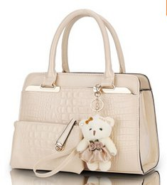 Wholesale Leather Women Teddy - New handbag fashion solid cross-section of European and American crocodile pattern shoulder bag packet sent Teddy Bear