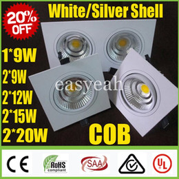 Wholesale Big Light Fixtures - Big Sale Square 1*9W 2*(9W 12W 15W 20W) COB LED Downlights White  Silver Dimmable Fixture Recessed Cabinet Ceiling Down Spot Lights Lamp CSA
