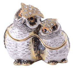Wholesale Owl Ornaments - owl bejeweled jewelry box gold animal trinket box faberge box metal vintage decoration box gift pewter figurine ornament