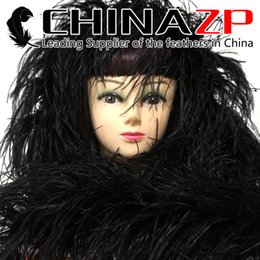 Wholesale Black Ostrich Boa - Leading Supplier CHINAZP Crafts Factory 2yards lot 35G Good Quality Dyed Black fluffy Ostrich Feather Boas