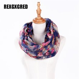 Wholesale voile sale - Wholesale- Hot Sale New Fashion High Quality Women cotton voile polyester scarves Small Rose Print Chevron Ring Scarf Winter Shawl Wrap