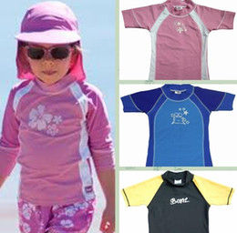 Wholesale Swim Wear 3t Girls - BONZ kids swimwear girl boy SPF50+ short sleeves summer beach surf swimming sports baby children tops shirts wear clothing party gift 1Y-6Y