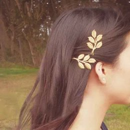 Wholesale Gold Jewellery Designs - Nice New Top Design Fashion Gold Alloy leaves Hair Head jewellery Hairpin Gift Leaves Hair Clips Barrettes Side clip Wedding Hair Jewelry