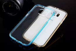 Wholesale Iphone Aluminium Metal Bumper - Samsung s6 s6 edge Metal CASE Aluminium Frame Bumper Bumpers Soft Clear Transparent Crystal TPU cover case for iphone 6 with Retail package