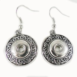 Wholesale Antique Silver Earring - 10pairs wholesale antique silver Noosa Earrings women earring studs alloy chunk button snap 12mm DIY Interchangeable ear rings