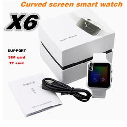 """Yeni Bluetooth Akıllı Izle X6 Smartwatch Spor İzle 1.54 """"kavisli Ekran Saati Android Telefon Için Destek Kamera SIM Kart nereden lemfo bluetooth smartwatch tedarikçiler"""