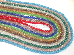 Wholesale Wholesale String Glass Beads - Wholesale-wholesale Free Shipping 200pc lot 2 string 6mm white ,Red AB ,pink AB Faceted glass Crystal Beads 10 color pick