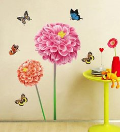 Wholesale Vinyl Wall Art Applique - Free shipping Fashion Flower Butterfly Home Decoration Art Wall Stickers Applique Wallpaper 100CM*85CM