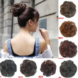 Wholesale Hair Extension Chignon - Sale Women Headwear Synthetic Hair Chignon Elastic Hair Bun Extension Curly Scrunchie Ladies Girls Hair Bundles