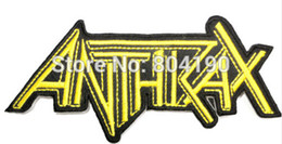 Wholesale Iron Out - ANTHRAX Gold Cut Out Music Band Iron On Sew On Patch Tshirt TRANSFER MOTIF APPLIQUE Rock Punk Badge Wholesale