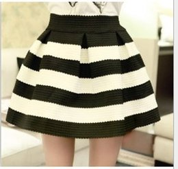 Wholesale Wholesale Ruffle Shorts Women - Fashion High-Waist Women Striped Skirts Women's Ball Gown Elastic Skirt Casual Short Skirts 5colors A4133