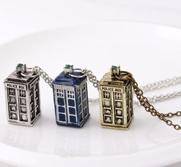Wholesale Silver Box Chains For Men - Movie Dr Doctor Who Cage Necklace Tardis Police Box Pendant Necklace For Men Women Special Accessories Jewelry Bijoux