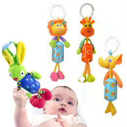 Wholesale Plush Soft Lion - Wholesale- Baby Crib Stroller Rattle Toy Plush Lion Rabbit Deer Elephant Newborn Baby Hanging Rattle Ring Bell Soft Cute Classic Toy
