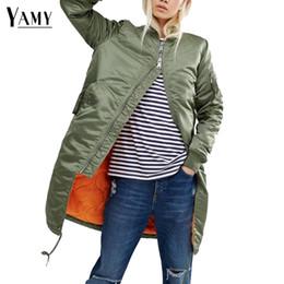 Wholesale Female Military Jackets - Wholesale-Winter long jackets and coats 2017 spring female coat casual military olive green bomber jacket women basic jackets plus size