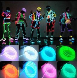 Wholesale Free Flexible Tube - 5M New Second Generation Cold Tablets Lights LED DIY Flexible Neon Glow EL Wire Rope Tube Decoration Lights 10 Colors DHL free