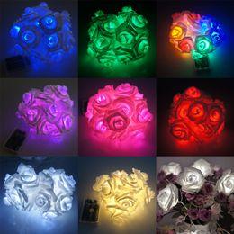 2019 tende rosse calde Spedizione gratuita Moda Bella vacanza Illuminazione LED Novità Rose Flower Fairy String Lights Wedding Garden Party Christmas Decoration Lamp