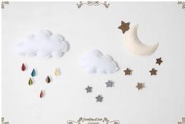 Wholesale Handmade 3d Stickers - Creative 1 set 100% handmade hanging moon & stars diy walk decoration moon for kids room, free shipping