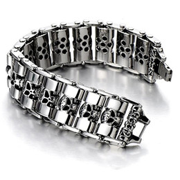Wholesale heavy silver chains for men - 24mm Heavy Punk Men's Chunky Motorcycle chain titanium steel Bracelet Biker Skull Bangle Stainless Steel Jewelry For Men Gifts
