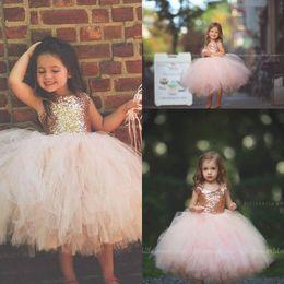 Wholesale girls dresses lace pink rose - Blush Pink Tutu Toddler Infant Flower Girls Dresses 2018 Sparkly Rose Gold Sequins Little Princess First Communion Wedding Party Dress