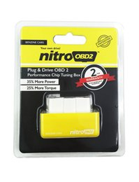 Wholesale Nissan Engine Sale - 2015 Hot Sale NitroOBD2 Benzine Car Chip Tuning Box Plug and Drive OBD2 Chip Tuning Box More Power   More Torque 10pcs lot DHL free