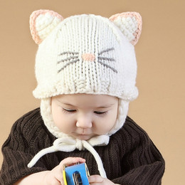 Wholesale Knitted Character Baby Hats - Autumn Winter Knitted Cap Cute Cartoon Ear Protect Hats Fashion Baby Beanies Outdoor Keep Warm Handmade Cartoon ears Chapeu