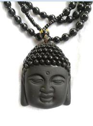 Jade ruyi online-Collar de Obsidiana Natural Moda Negro Ruyi Buda Colgante Para Mujeres Hombres Vintage Joyería Adornos de Jade Fino B3