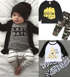 Wholesale Wholesale Bottle Sleeves - 2018 Baby Clothing Sets Boys Girls Toddler Long Sleeve tshirts Pants 2Pcs Set Cute Cartoon Letters Infant Tees Tops Boutique Clothes Suits