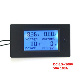 Wholesale Lcd Digital Dc Volt Meter - DC6.5~100V Ammeter Voltage Meter Amp Volt Power Energy Meter With Blue Backlight LCD Digital Diaplay 50A 100A Optional