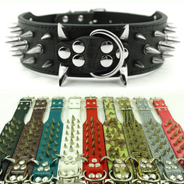 Wholesale Spiked Leather Collar Pitbull - (10 Colors 4 Sizes) 2inch Wide Spiked & Studded Leather Dog Collars for Pitbull Mastiiff More Breeds