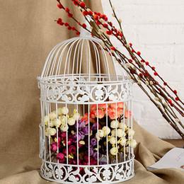 loros de plastico Rebajas Jaula de pájaros decorativa blanca al por mayor-clásico para la boda de metal enjaulado Decoración de hierro de aves Birdcage