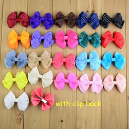 Wholesale Diy Bowknot Chiffon - Wholesale 210pcs lot Kids Bowknot WITH Clips For Hair Dot Chiffon Ribbon Bow Girls Hair Clips Hair Pin DIY Accessories HA0462