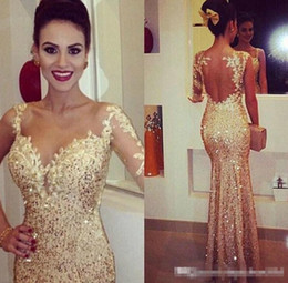 Wholesale Cap Sleeve Glitter - 2015 Sparkly Sexy One Long SleeveV-Neck Mermaid Party Dresses Gold Glitter Sequins GlitzApplqiue Open Backless Floor-Length Prom Gowns