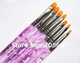 Wholesale Kolinsky Nails Brush - Freeshipping 7 Sizes Professional UV Gel Brush Nail Art Painting Draw Brush Nail Pen Wholesales